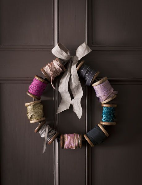 Spools of thread wreath.