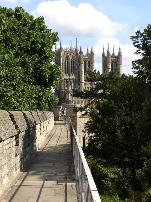 The ancient walls of Lincoln, and the 12rh century Lincoln Cathedral, England