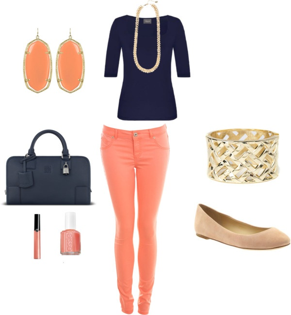 Navy and coral.Women Fashion, Cute Spring Outfit With Pants, Outfit With Coral Pants, Style, Anchor Shirts, Clothing, Colors Combinations, Preppy Outfit, Coral Pants Outfit