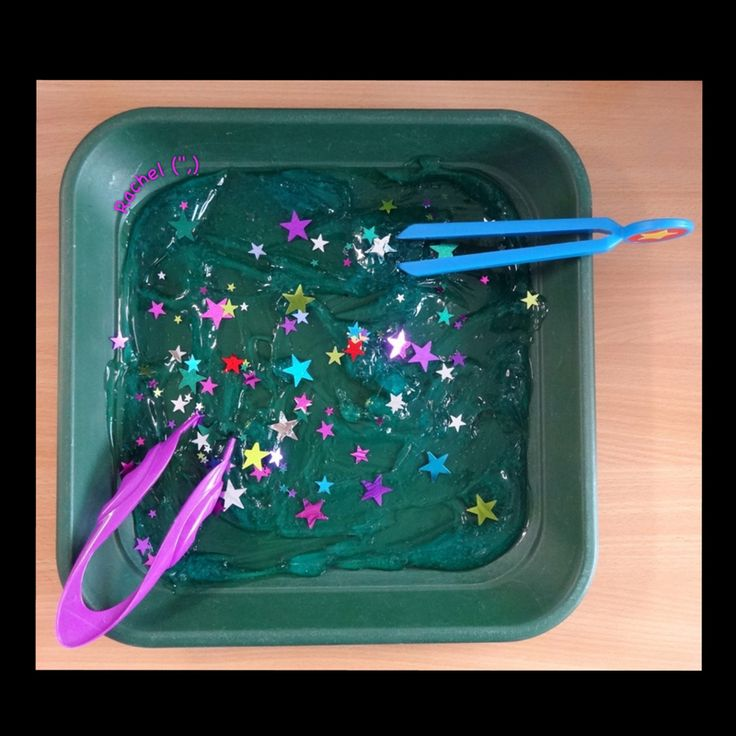 """Tweezing """"Fireworks"""" Fine Motor Work (use cheap hair gel, star sequins & tweezers; from Stimulating Learning With Rachel)"""