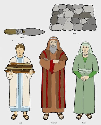 Abraham, Isaac and Sarah, printable popsicle stick or flannel board characters.