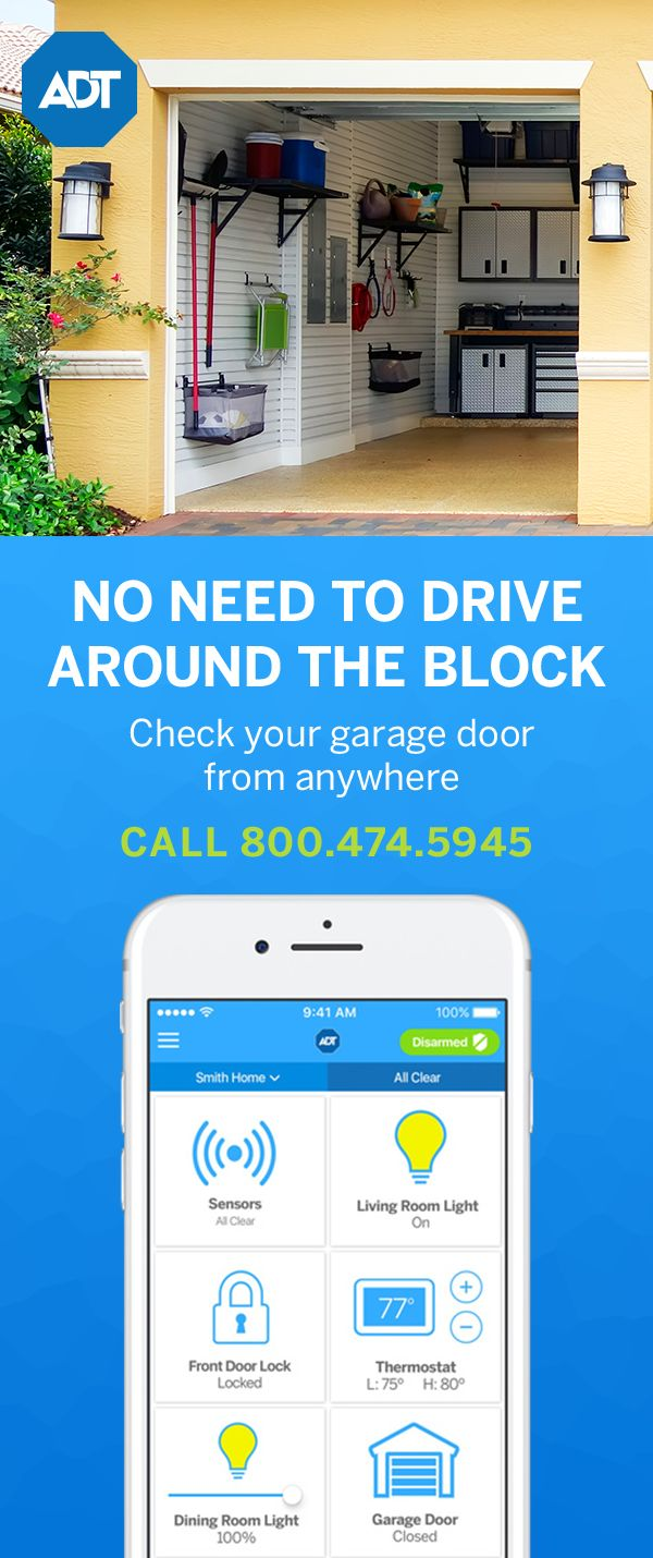 Upgrade your home security with integrated smart home features. Garage Door Control lets you check whether your door is closed right from your smartphone and sends alerts any time it's open or closed. You can also arm and disarm your system, control lights and change your home's temperature right from the app. Call 800-474-5945 to learn more about ADT Pulse®. #homesecuritysystemdesign