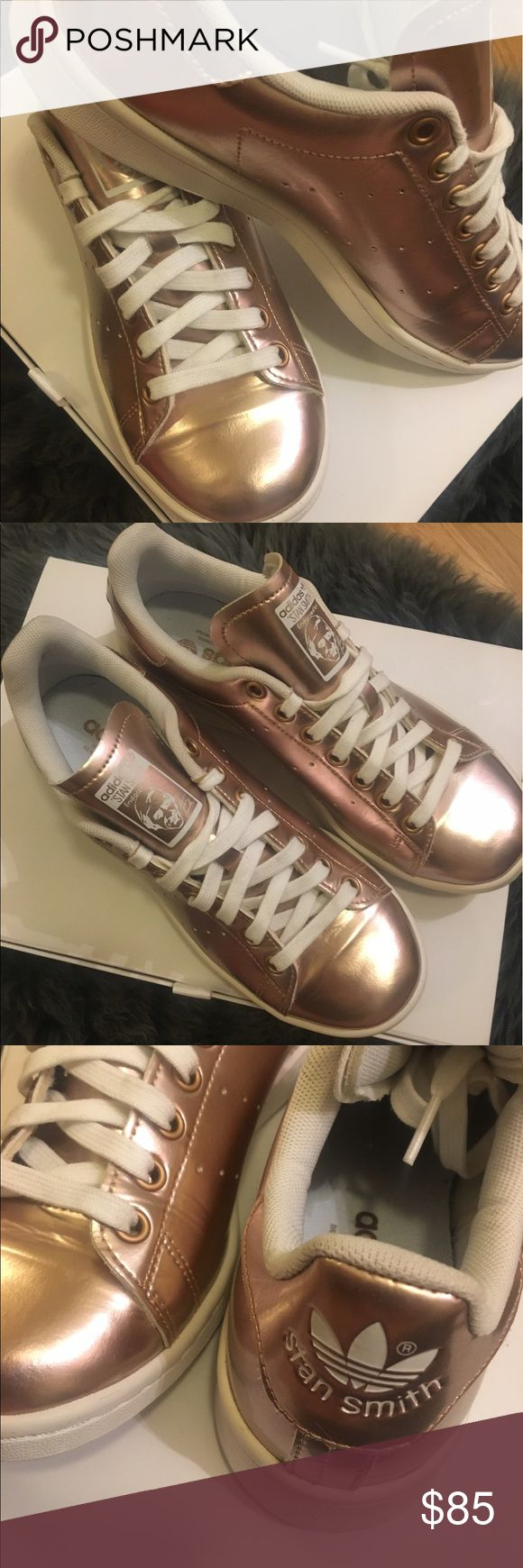 Adidas Original Stan Smith Metallic Gold sneakers Metallic leather upper Lace-up fastening Branded tongue and cuff Padded for comfort Chunky sole Moulded tread Wipe with a damp cloth 100% Real Leather Upper  {worn only once} adidas Shoes Sneakers
