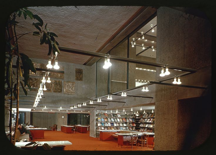 Original slide showing the interior of the library in the Art and Architecture Building at Yale University.