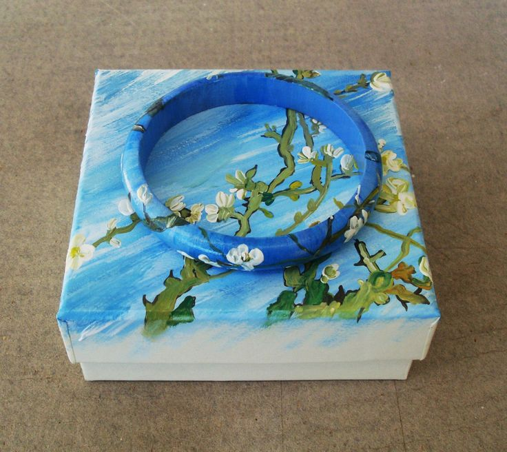 Bracelets, Bangles, Charms, Charm Bracelets, Handpainted, Hand painted, Wooden Bracelet, Wooden Bangle, Almond Blossoms, Van Gogh by allabouthandicraft on Etsy