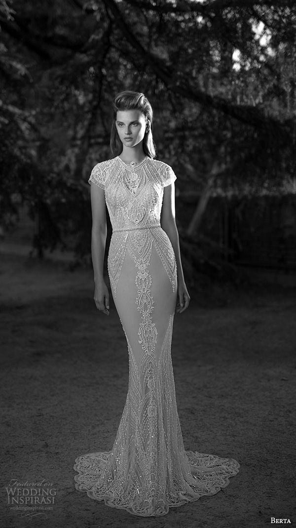 berta fall 2016 bridal jewel neckline cap sleeves lace embroidered sheath wedding dress