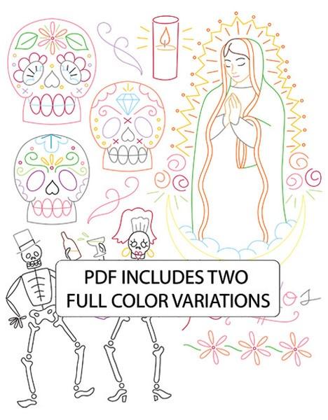 Dia de Los Muertos embroidery patterns