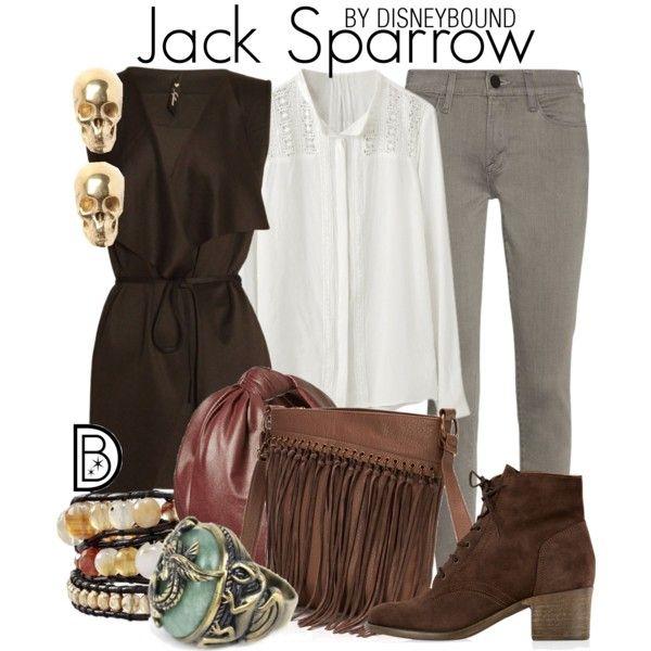 Jack Sparrow by leslieakay on Polyvore featuring Frame Denim, Monsoon, Sonoma life + style, LeiVanKash, Cara, disney, disneybound and disneycharacter