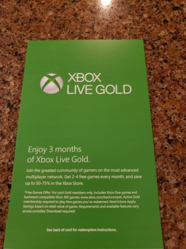 Prepaid Gaming Cards 156597 Microsoft Xbox 360 One Live Subscription 3 Month Gold Membership Fast Delivery BUY IT NOW ONLY 18 On EBay