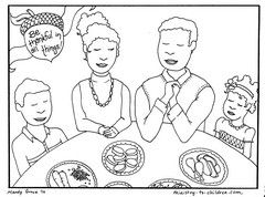 FREE coloring sheet shows a traditional family seated around a table enjoying the Thanksgiving meal.