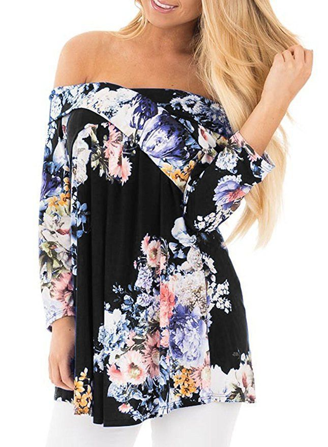 242ca94e5bca7 Women Floral Print Blouse Off Shoulder Tops 3 4 Sleeve Casual Plus Size T  Shirt black
