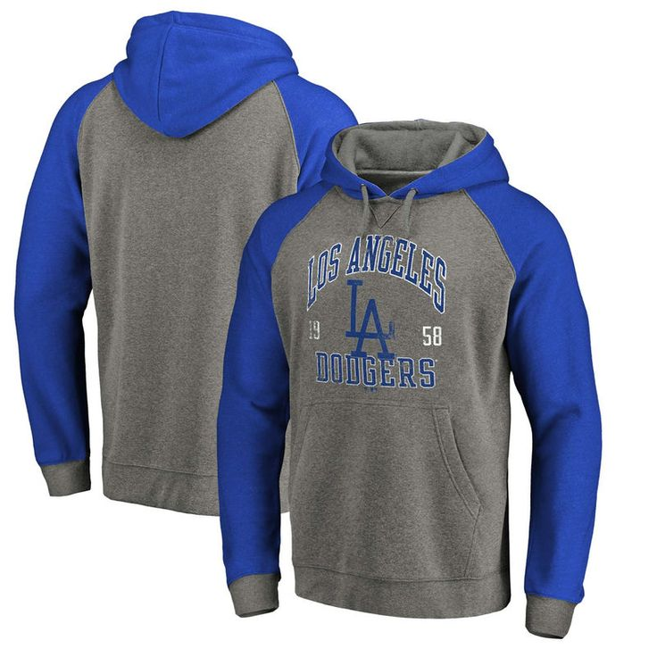 Los Angeles Dodgers Fanatics Branded Cooperstown Collection Old Favorite Tri Blend Pullover Hoodie Heathered Gray Roy Hoodies Pullover Hoodie Raglan Pullover