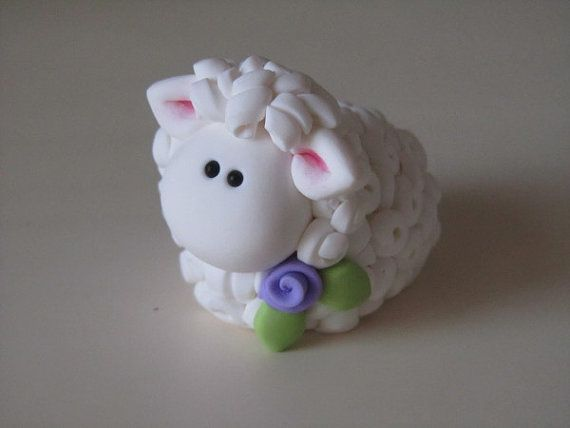 polymer clay sheep | Polymer Clay Easter Lamb Figurine by ClayPeeps on Etsy, $11.00