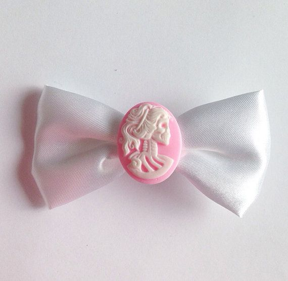 White Skull Cameo Bow by TeacupRose on Etsy