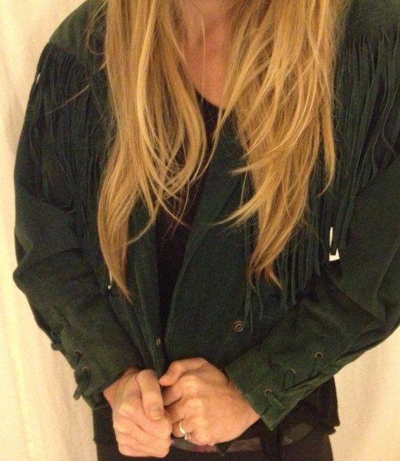 Wilsons Leather Green Suede Fringe Jacket Awesome Vintage Score boho glam retro chic