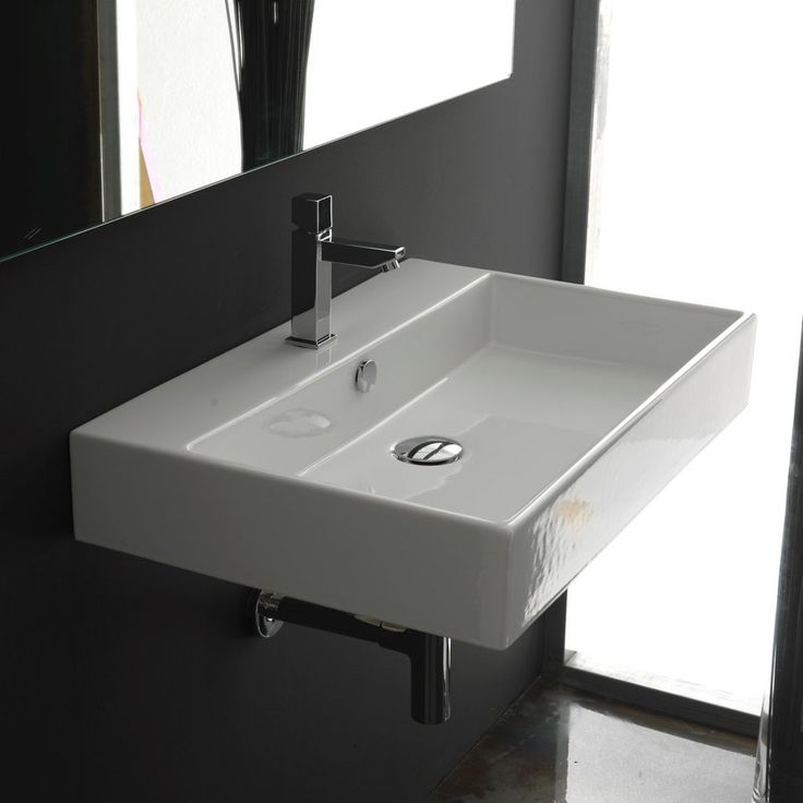 $476 WS Bath Collections Ceramica I White Wall-Mount Rectangular Bathroom Sink with Overflow