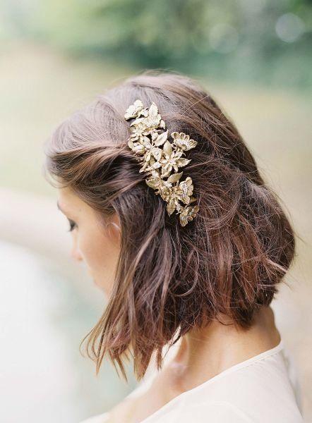 Kurze Haare Hochzeitsfrisur Idee – Gold Haarteil für Hochzeit {Michael & Carina …   – Wedding Hair & Makeup