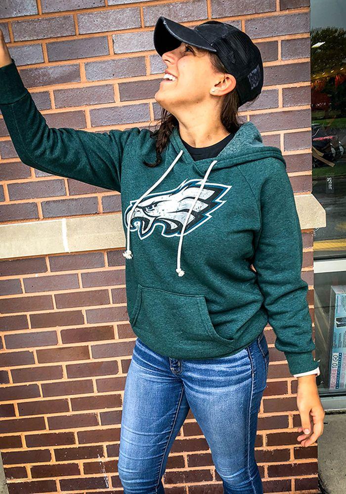 7b1f0915 Philadelphia Eagles Womens Black Primary Logo Hooded Sweatshirt ...