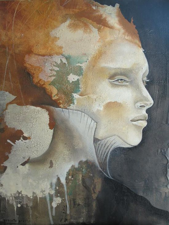 Modern abstract portraits of woman by Pascale Pratte