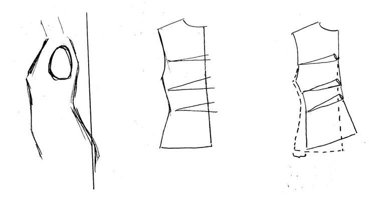 Sway back. A short and curved back may need a center back seam. Depending on how curved/swayed you are, take length away by folding the pattern at center back, but don't forget to add on at the side seams,  to the original patterns side seam. Some of the waist curve can later be replaced with darts and/or the whole piece parted at the waist.
