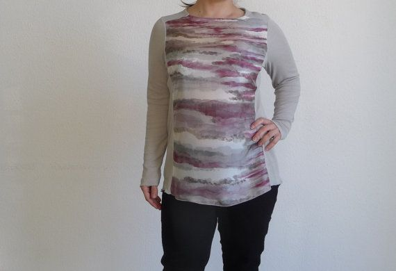 Grey tunic blouse longsleeve silk fuchsia by ArtTetisCollections