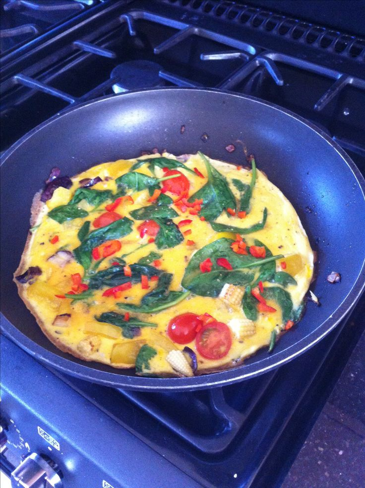 Veggie omelette with fresh basil and chillies. Great with the Juice Plus meal plan :)