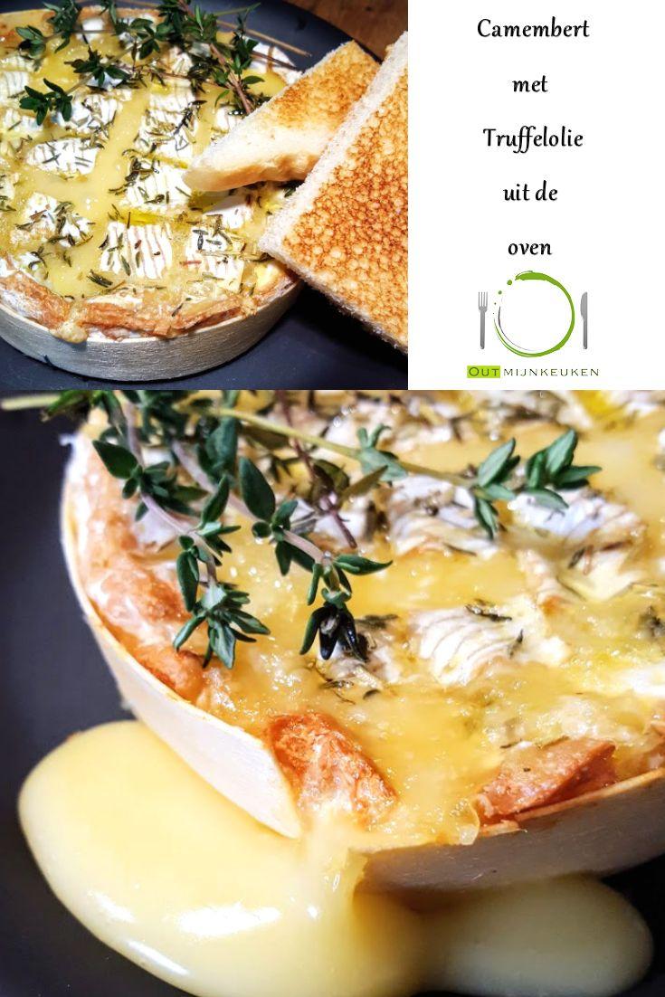 Camembert uit de oven met truffelolie, tijm en rozemarijn Het recept staat op outmijnkeuken.nl