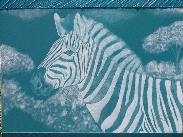 """""""Asha"""" Zebra means - Life  20""""x 16"""" 40cm x  50 cm Acrylic & texture. On canvas ready to hang  For SALE $299 www artonpartrige.wix.com/artist"""