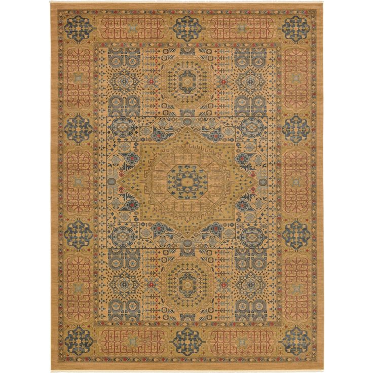 Unique Palace Light Green/Beige Floral Indoor/Outdoor Rectangular Area Rug (13' x 18') (Red - Beige - Southwestern), Size 11' & Up