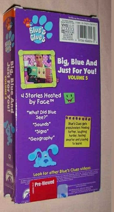 Blue S Clues Big Blue And Just For You Volume 5 2001 Vhs