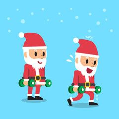 Step Aerobics Cartoon | Cartoon santa claus doing dumbbell upright row exercise step training