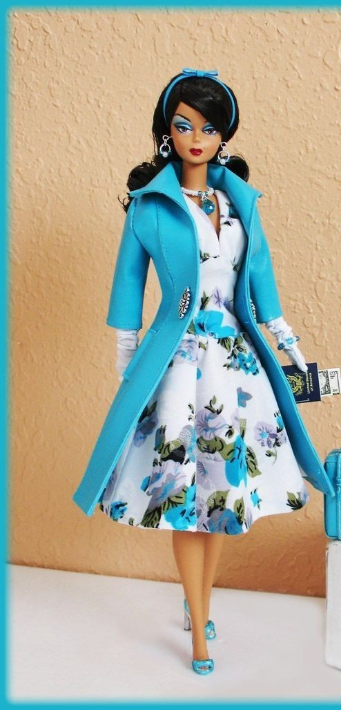 BArbie Silkstone in blue coat over white dress
