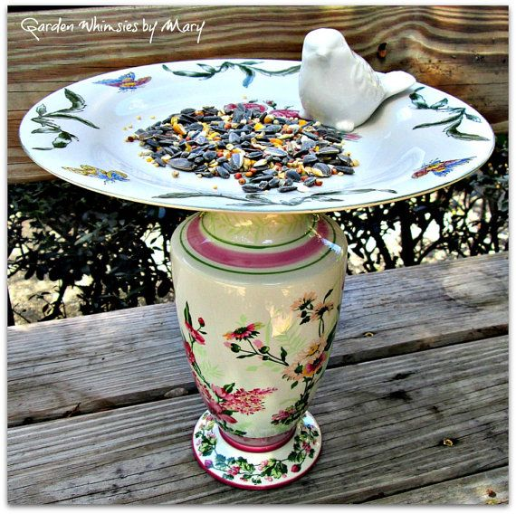 Shabby Chic Garden Totem / Bird Feeder / by GardenWhimsiesByMary, $35.00