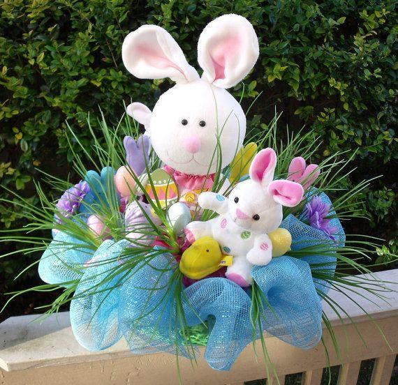 Easter Basket Bunny Centerpiece Easter Arrangement by LuxeWreaths, $199.00