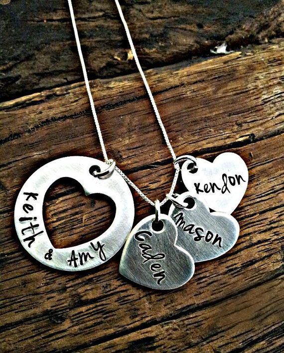 Heart Cutout Pendant Necklace, Pieces Of My Heart Mothers Necklace, Hand Stamped Custom Family Name Jewelry, Personalized For You