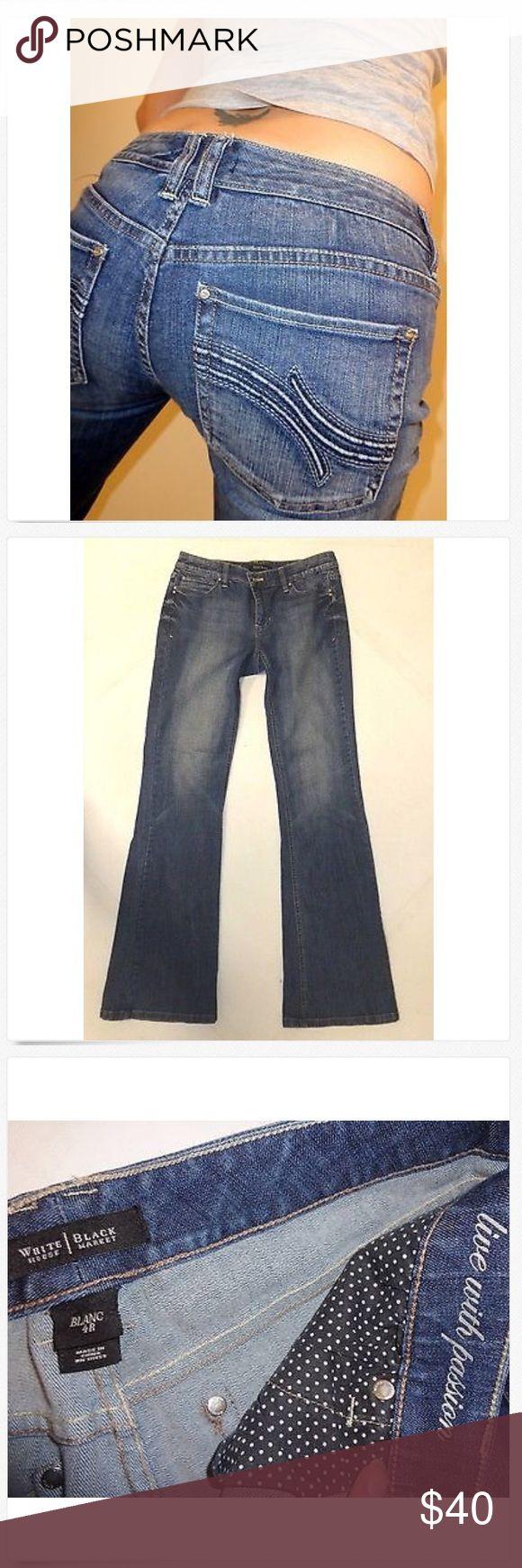 White House Black Market Flare Leg Jeans! 4 x 33 Gorgeous White House Black Market Mid Rise Stretch Flare Leg Jeans! 4R x 33 Long! Great Used!  15 across & 8 rise, 99% cotton & 1% spandex White House Black Market Jeans Flare & Wide Leg