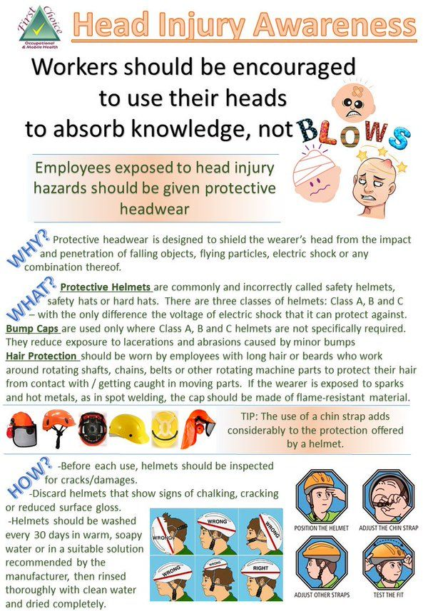 Head Injury Awareness - Workers should be encouraged to use their heads to absorb knowledge, not blows