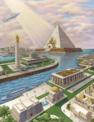 Artistic interpretation of Atlantis in its later ages.: