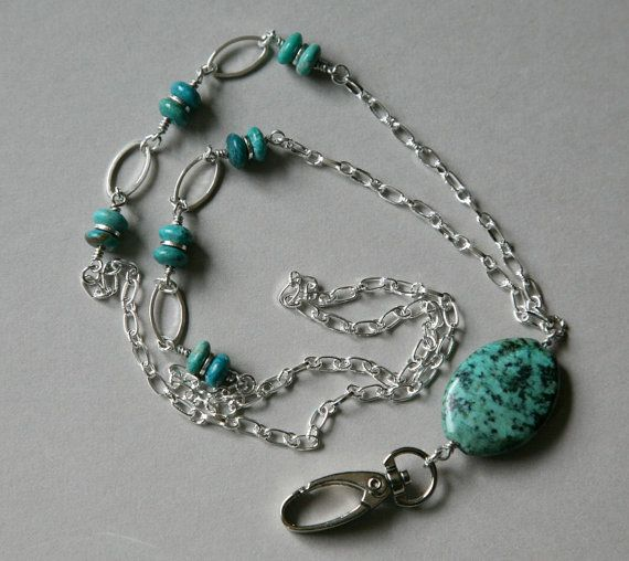 Turquoise and Silver ID Lanyard Necklace by GemNEyes on Etsy, $26.00
