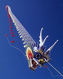 An awesome traditional Chinese dragon kite. A mixture of craftsmanship, artistry and aerodynamics! A centipede-style kite consisting of a head and many many flat plates tethered together at several points. T.P. (my-best-kite.com)