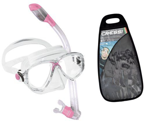Cressi Marea and Dry Snorkel Combo (Pink). Designed And Created Using Innovative and Patented Manufacturing Technology. Always A Comfortable Fit. Includes 2 Year Warranty. New product 2012 Marea mask with Dry snorkel in reusable black carry bag. Completely dry top snorkel with purge valve for easy clearing. Release: 2012-02-10. Mask features 100% silicone skirt with tempered glass lenses.