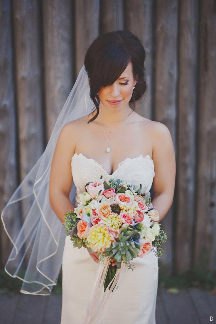 Fort Edmonton Park Wedding  Pastels, succulents, ranunculus, garden roses