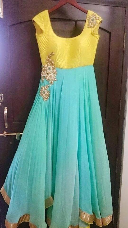 Pure Georgette sea green dress .. get it stitched at www.mytailor.in