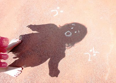 Playing With Shadows- make chalk expression, let your shadow show an emotion