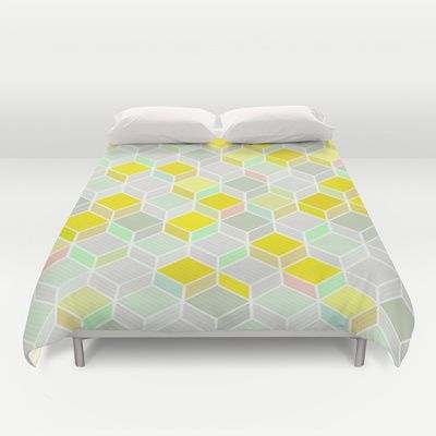 CUBE YELLOW Duvet Cover by kind of style