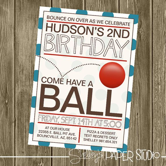 Ball Birthday Party Invitation by shelleyspaperstudio on Etsy, $15.00
