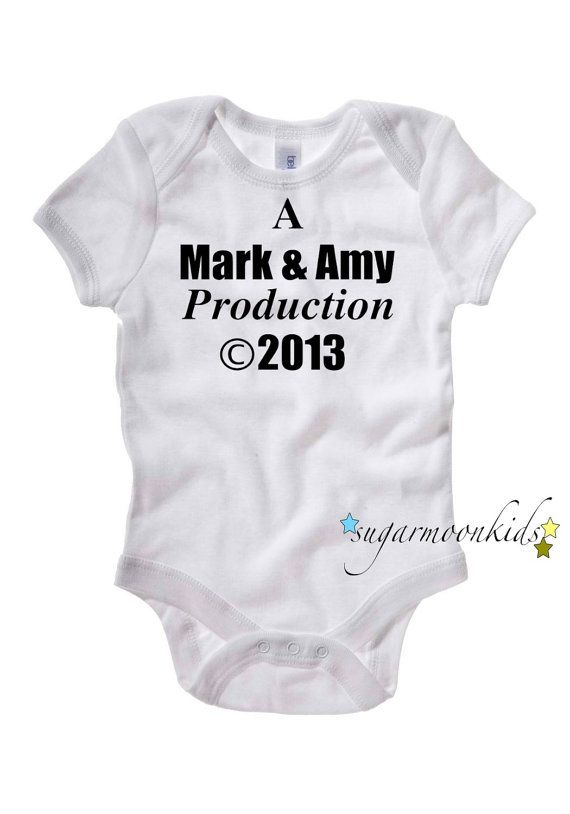 "Personalized Baby Onesie ""A _ & _ Production"" ((A Brandon *&* Katie Production ©2014... :):) lol))"