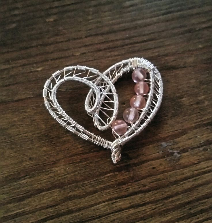 Heart pendant - silver wire wrapped pendant withe quartz rose gems