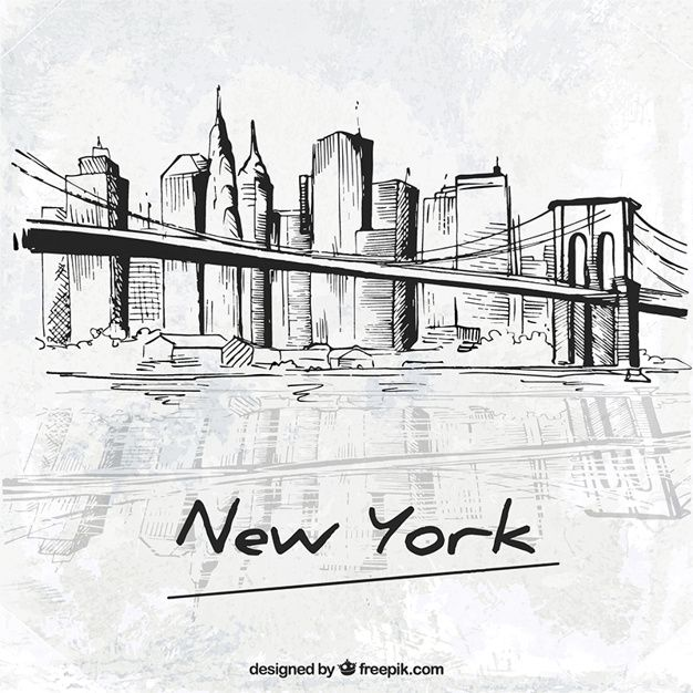 york vector sketchy skyline drawing freepik background silhouette nyc colourful vectors graphic ago clouds sketch draw ai edit