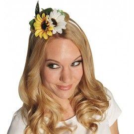 Mini chapeau de paille avec fleurs femme